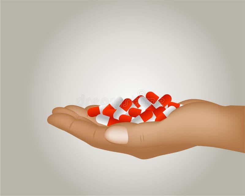 Mano con las píldoras stock de ilustración