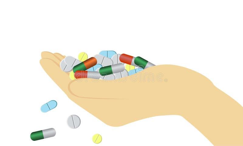 Mano con las píldoras ilustración del vector