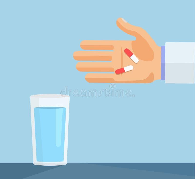 Mano con las píldoras y vidrio del ejemplo plano del concepto médico del agua stock de ilustración
