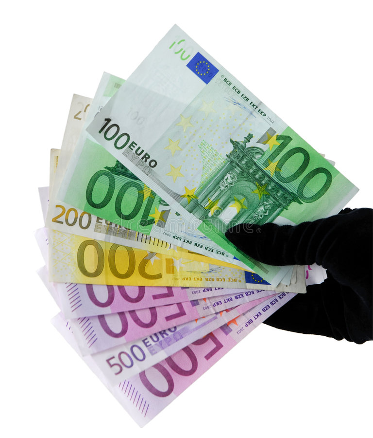 Mano con los billetes de banco euro imagen de archivo libre de regalías