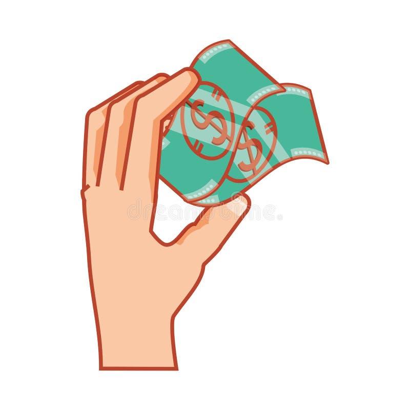 Mano con los dólares de las cuentas stock de ilustración