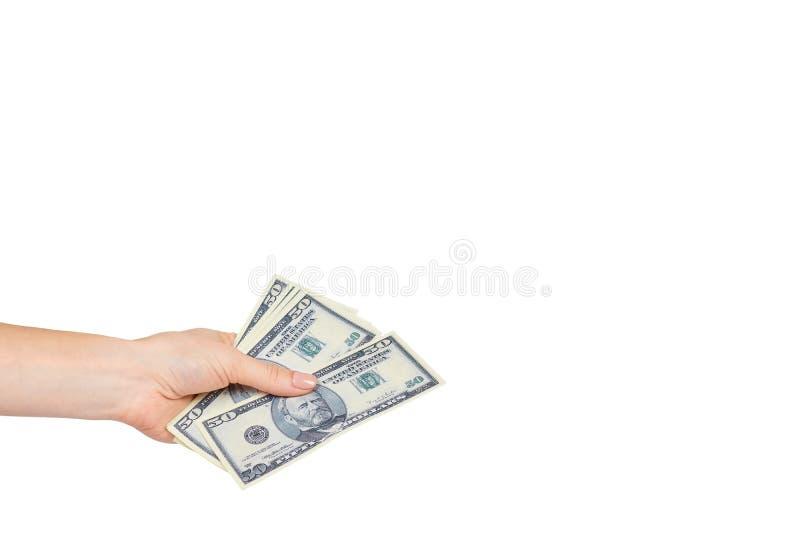 Mano con los d?lares americanos, el concepto de sobornos y la corrupci?n fotografía de archivo