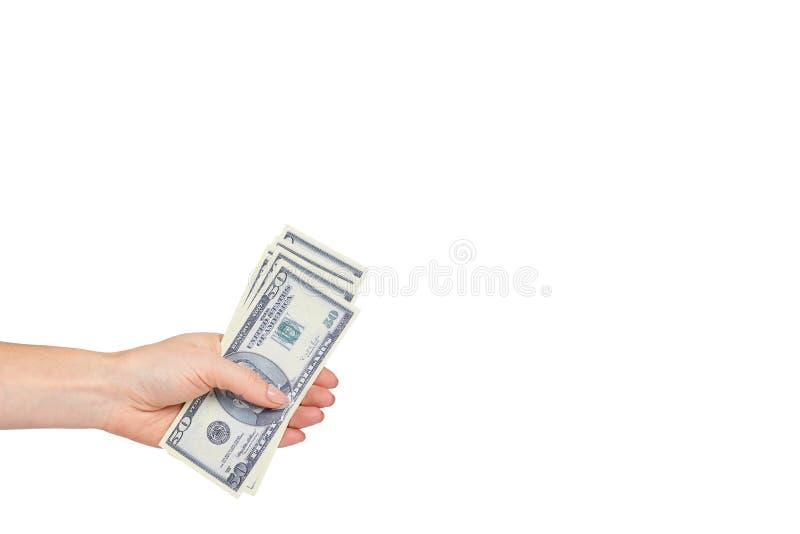Mano con los d?lares americanos, el concepto de sobornos y la corrupci?n fotografía de archivo libre de regalías
