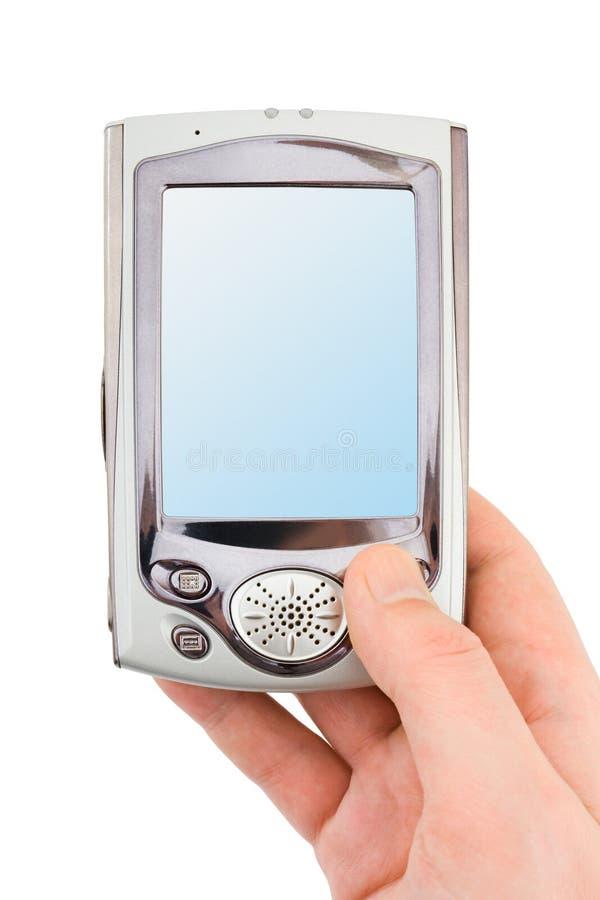Mano con PDA fotografía de archivo