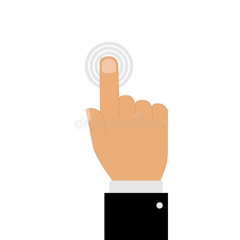 mano con señalar el finger que toca el fondo del botón ilustración del vector