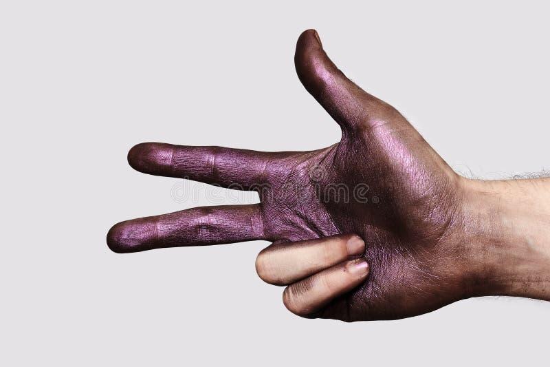Mano con tres fingeres imagen de archivo libre de regalías