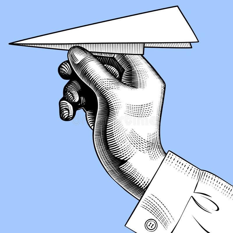 Mano con un aereo di carta illustrazione di stock