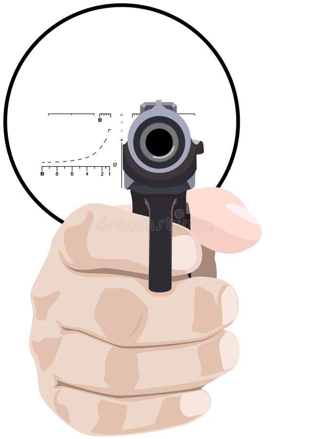 Mano con un arma stock de ilustración