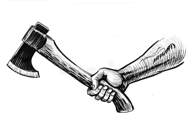 Mano con un hacha libre illustration