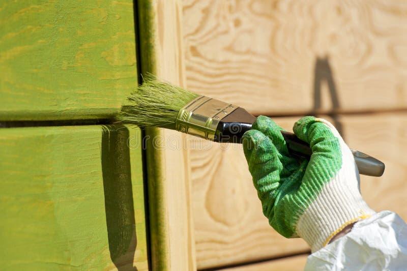 Mano con un pennello che vernicia parete di legno nel gr immagine stock libera da diritti