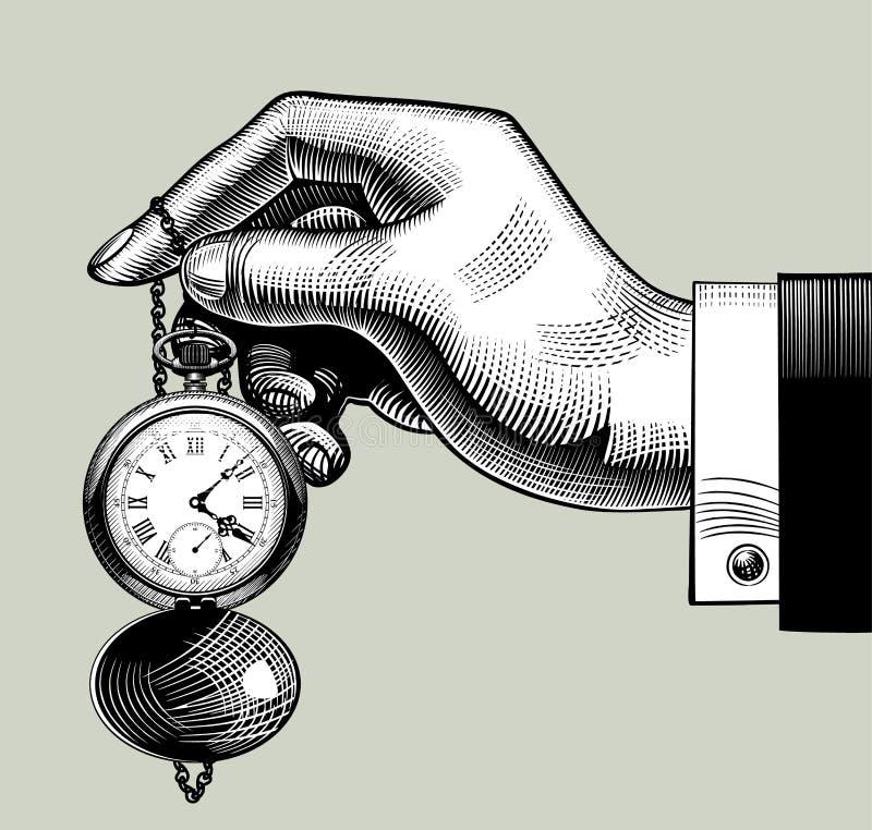 Mano con un vecchio orologio retro vigilanza di casella illustrazione vettoriale