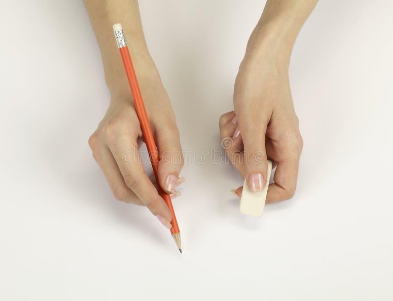 Mano con una matita immagini stock