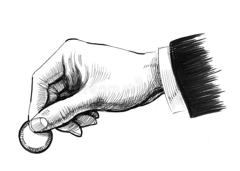 Mano con una moneda libre illustration