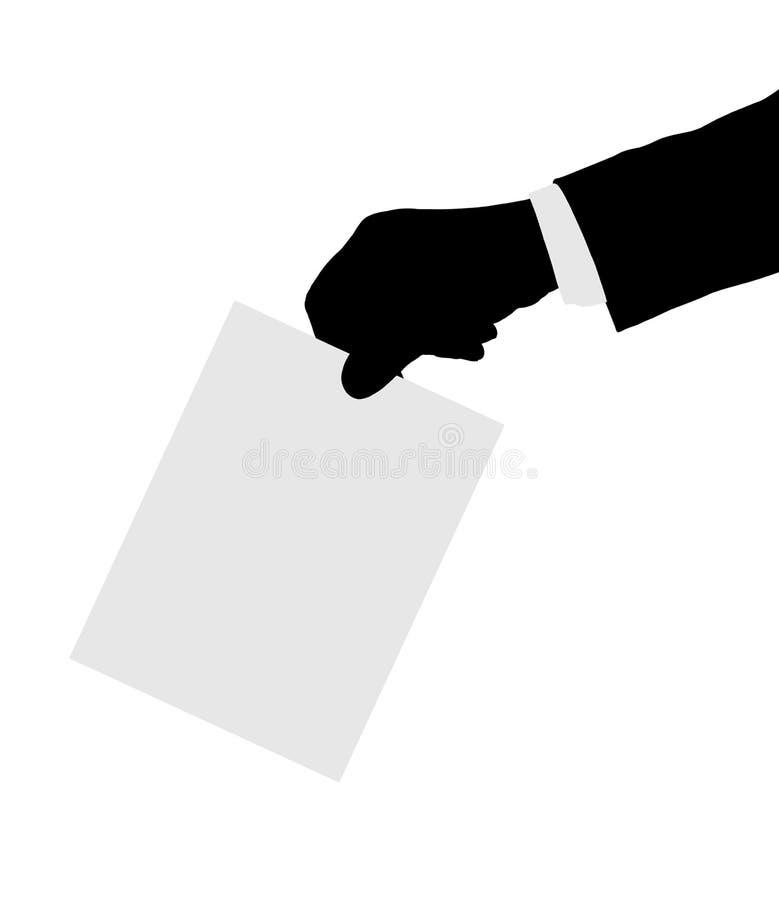 Mano con voto di carta illustrazione vettoriale