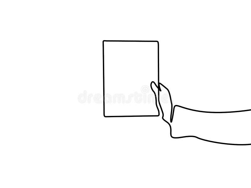 Mano continua del dibujo lineal que sostiene una hoja de papel en blanco con el copyspace stock de ilustración