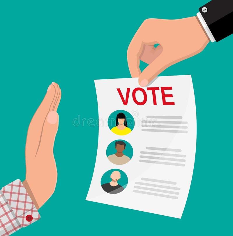 Mano contro il voto royalty illustrazione gratis