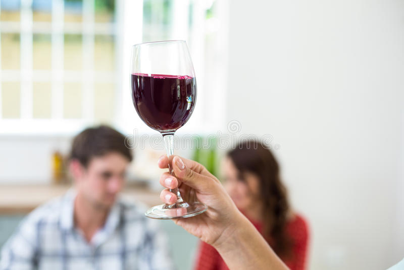 Mano cosechada que sostiene la copa de vino roja imagen de archivo
