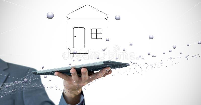 Mano cosechada que sostiene la tableta digital con el símbolo casero y que conecta puntos ilustración del vector
