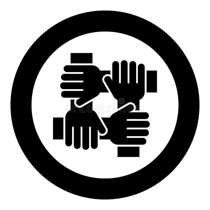 Mano cuatro que liga color del negro del icono del concepto del trabajo del equipo en el círculo redondo stock de ilustración