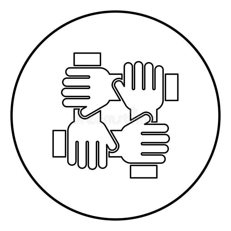 Mano cuatro que liga color del negro del icono del concepto del trabajo del equipo en el círculo redondo libre illustration