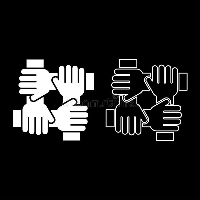 Mano cuatro que liga imagen simple de color del icono del concepto del trabajo del equipo del estilo plano blanco determinado del ilustración del vector