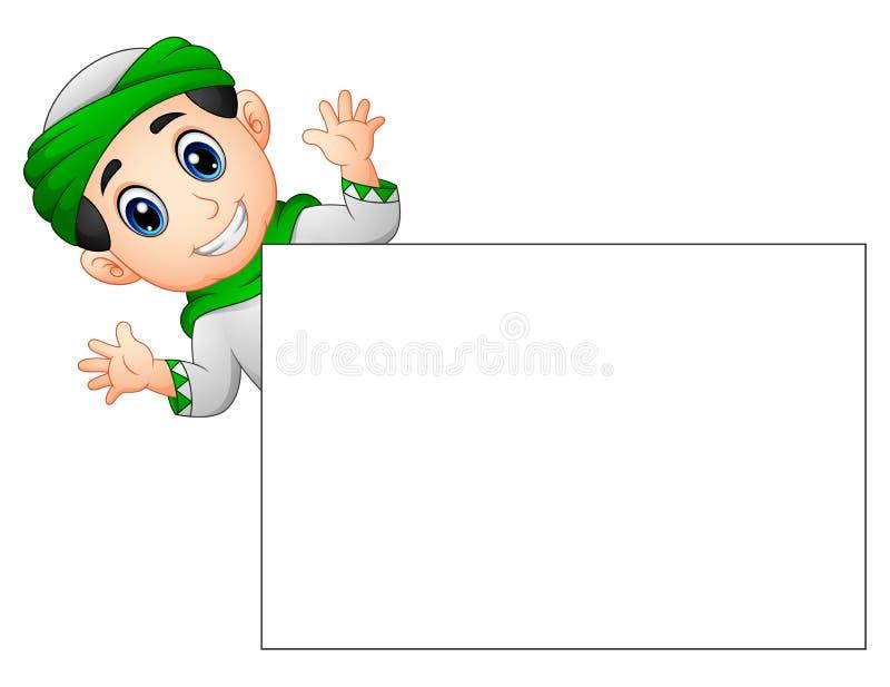 Mano d'ondeggiamento del bambino musulmano felice dietro il segno in bianco royalty illustrazione gratis