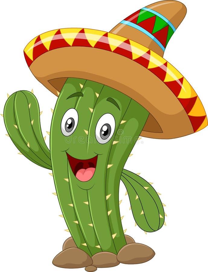 Mano d'ondeggiamento del cactus felice su fondo bianco illustrazione vettoriale
