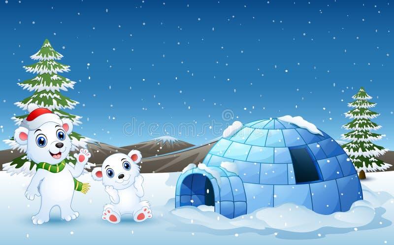 Mano d'ondeggiamento del fumetto dell'orso polare nella collina di nevicata con l'iglù illustrazione vettoriale