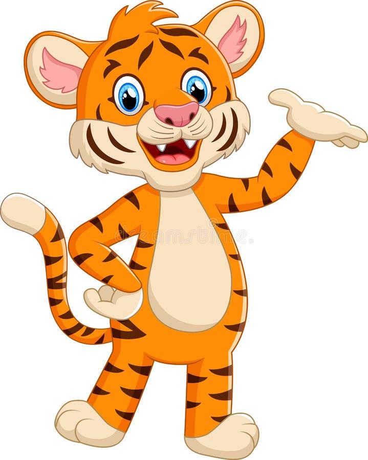 Mano d'ondeggiamento della tigre sveglia royalty illustrazione gratis