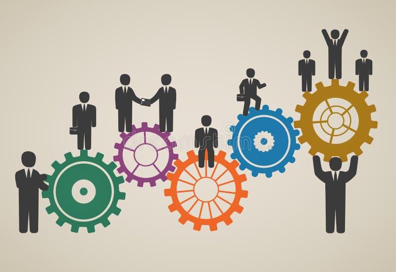 Mano d'opera, funzionamento del gruppo, gente di affari nel moto illustrazione di stock