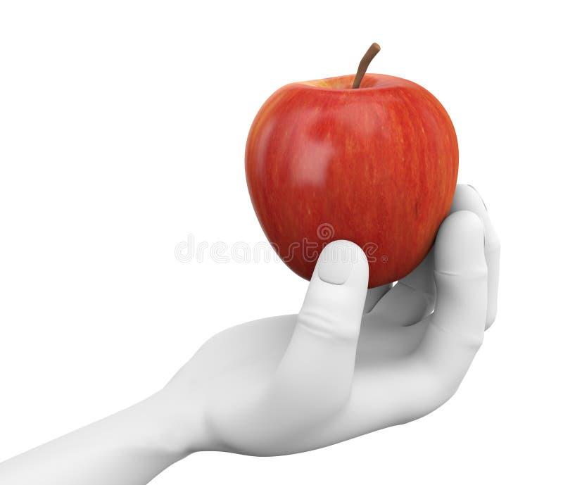 mano 3d que sostiene una manzana roja ilustración del vector