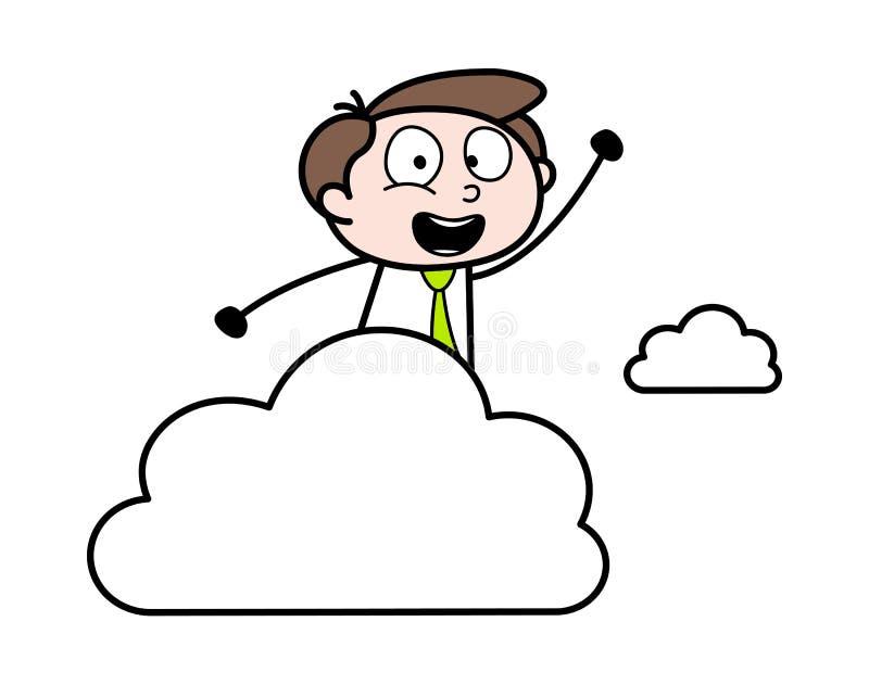 Mano de aumento alegre - ejemplo de Employee Cartoon Vector del hombre de negocios de la oficina ilustración del vector