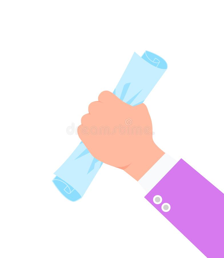 Mano de Businessmans con el rollo del documento de papel en el puño ilustración del vector