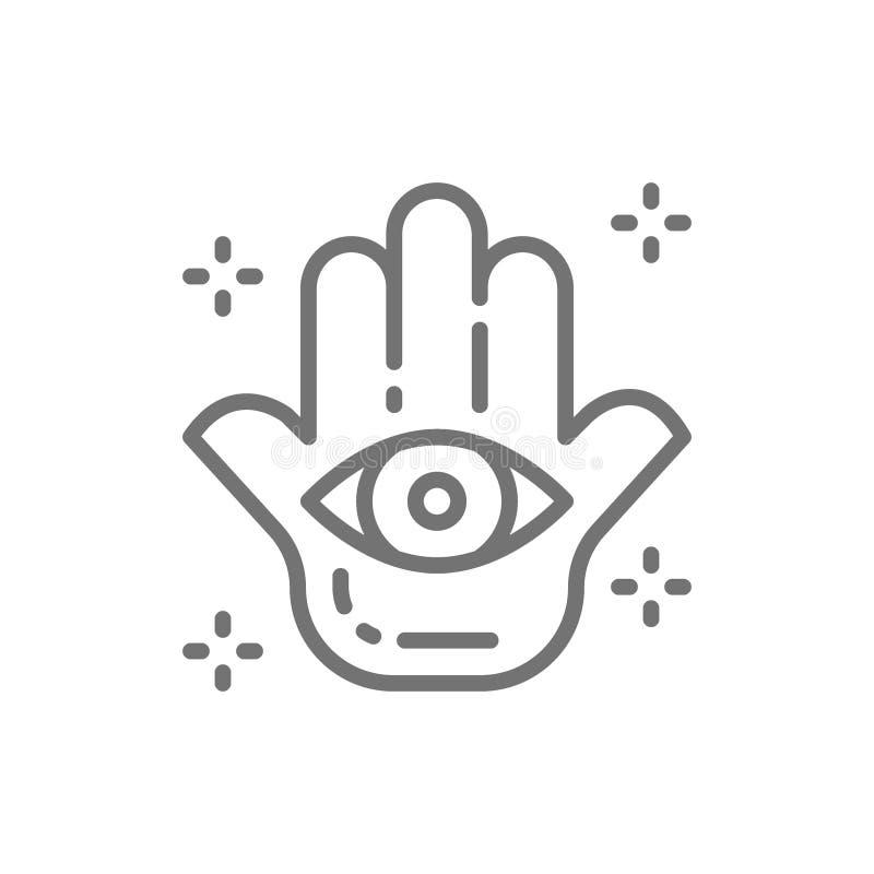 Mano de Fátima, mascota de Hamsa, talismán, línea icono del amuleto stock de ilustración