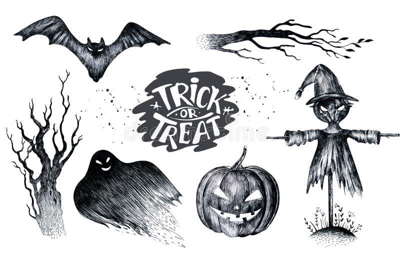 Mano de Halloween que dibuja el icono determinado del gráfico blanco negro, dibujado hola libre illustration