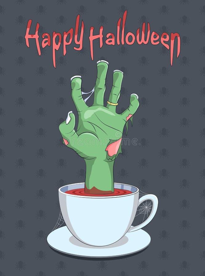 Mano de Halloween y del zombi de la taza de café stock de ilustración