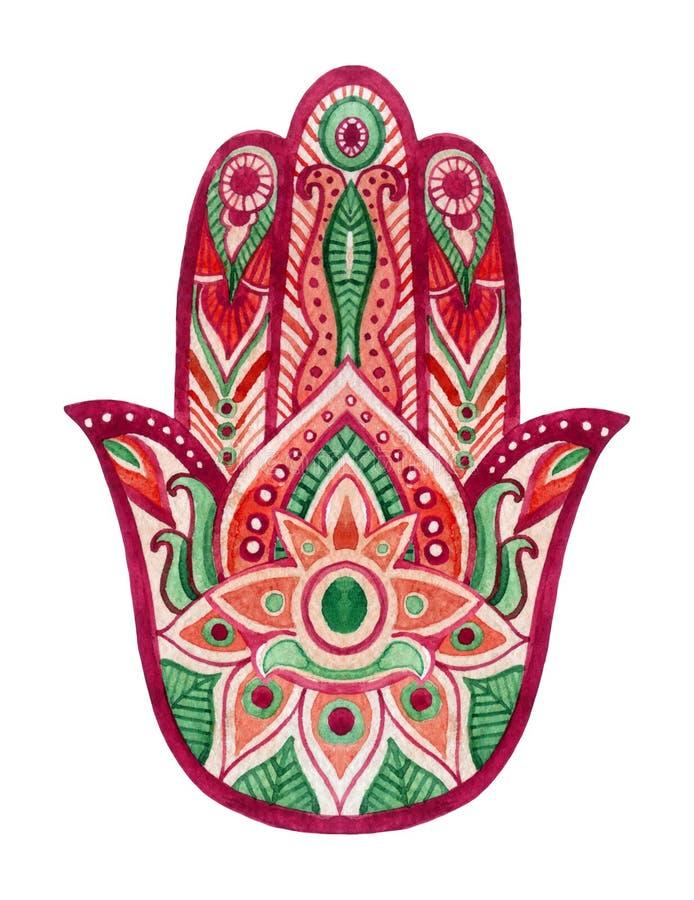 Mano de Hamsa en acuarela Amuleto de la suerte protectora y buena en indio, culturas judías árabes Mano de Hamesh en colores vivo stock de ilustración