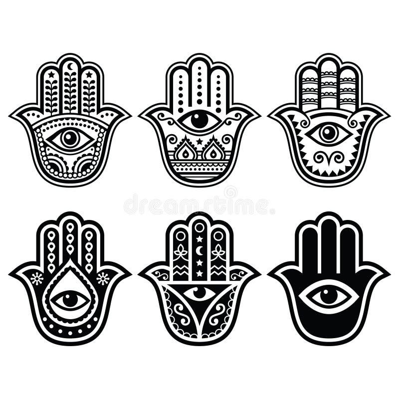 Mano de Hamsa, mano de Fátima - amuleto, símbolo de la protección contra ojo del diablo ilustración del vector
