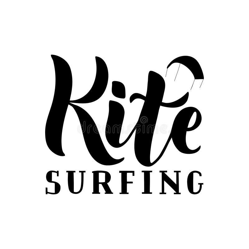 Mano de Kitesurfing escrita poniendo letras al logotipo libre illustration