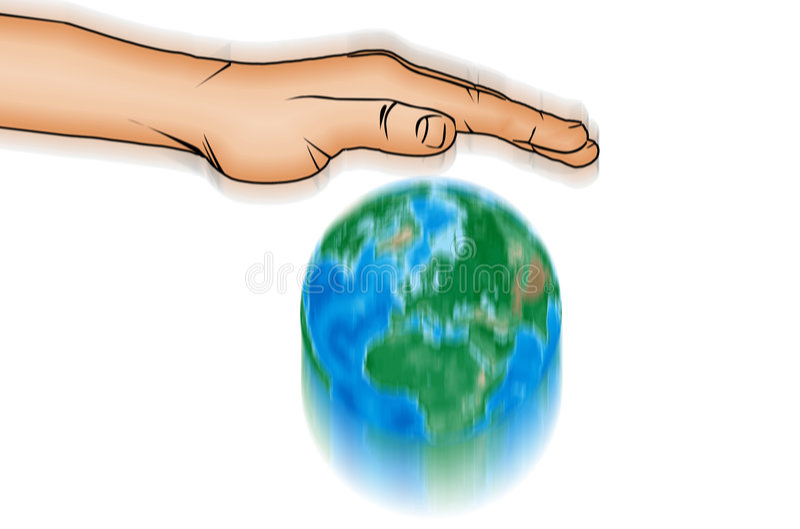 Mano de la acción y globo del mundo stock de ilustración