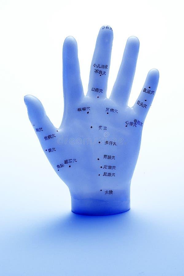Mano de la acupuntura imágenes de archivo libres de regalías