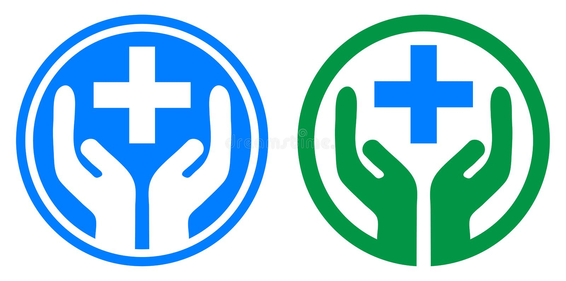 Mano de la asistencia médica más logotipo stock de ilustración