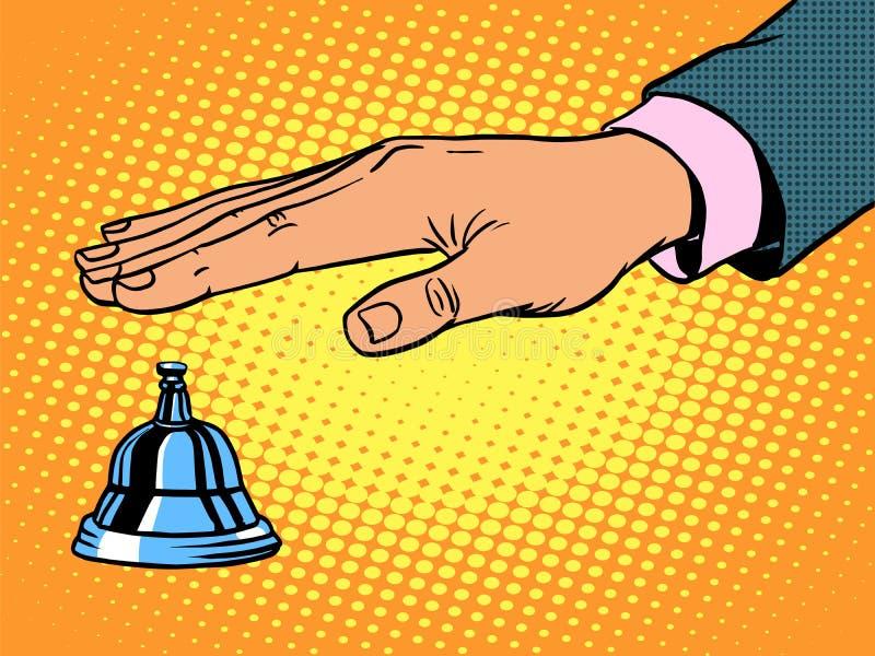 Mano de la campana de llamada del mostrador de recepción libre illustration
