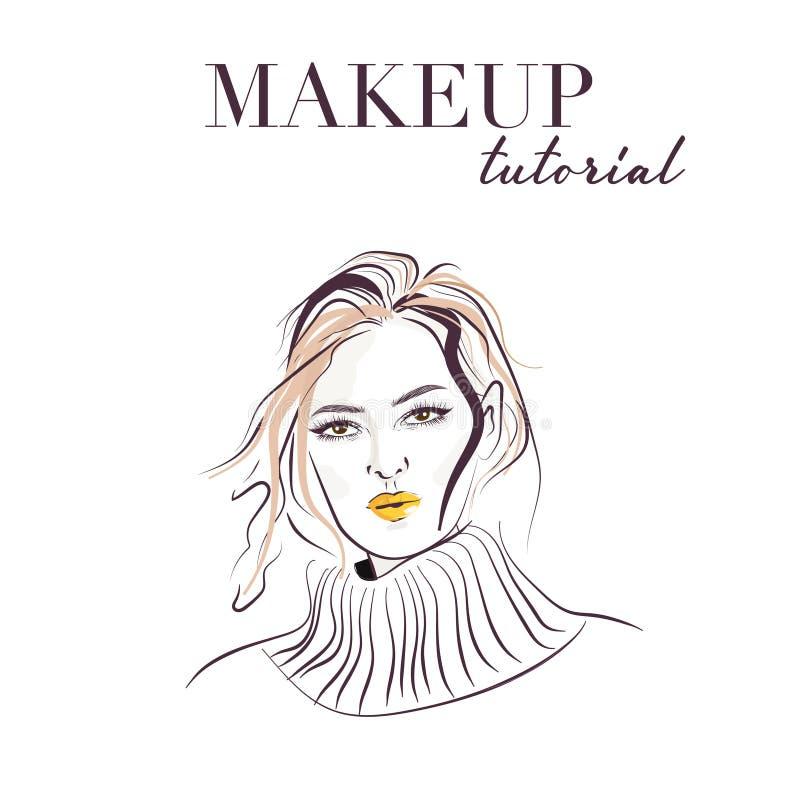 Mano de la cara de la mujer dibujada Bosquejo del vector de la cara del modelo del maquillaje Mujer joven con el ejemplo brillant libre illustration