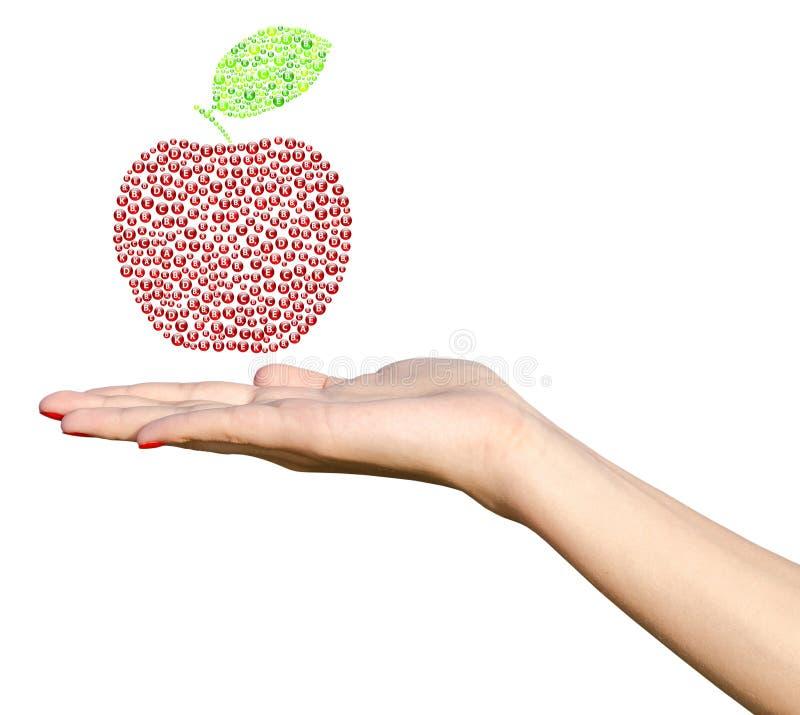 Mano de la chica joven que sostiene las vitaminas Apple libre illustration