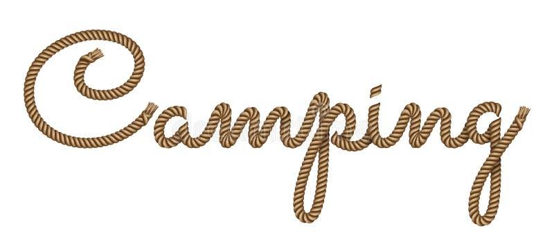 Mano de la cuerda dibujada poniendo letras a acampar libre illustration