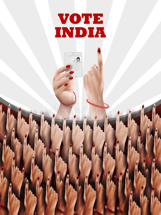 Mano de la demostración de la bandera del cartel de la gente india para la campaña de la interrogación de la elección y del voto  stock de ilustración