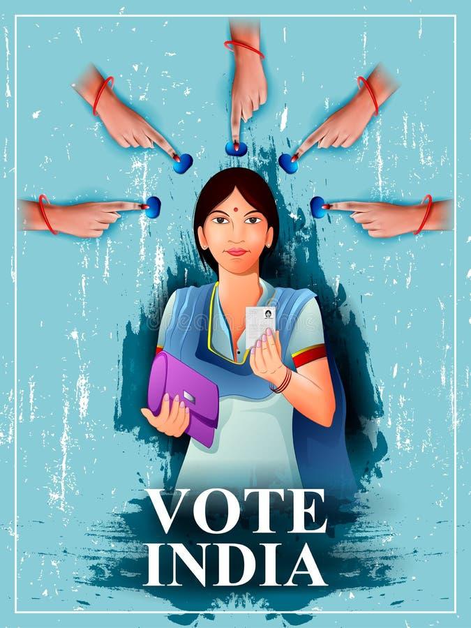 Mano de la demostración de la bandera del cartel de la gente india para la campaña de la interrogación de la elección y del voto  libre illustration
