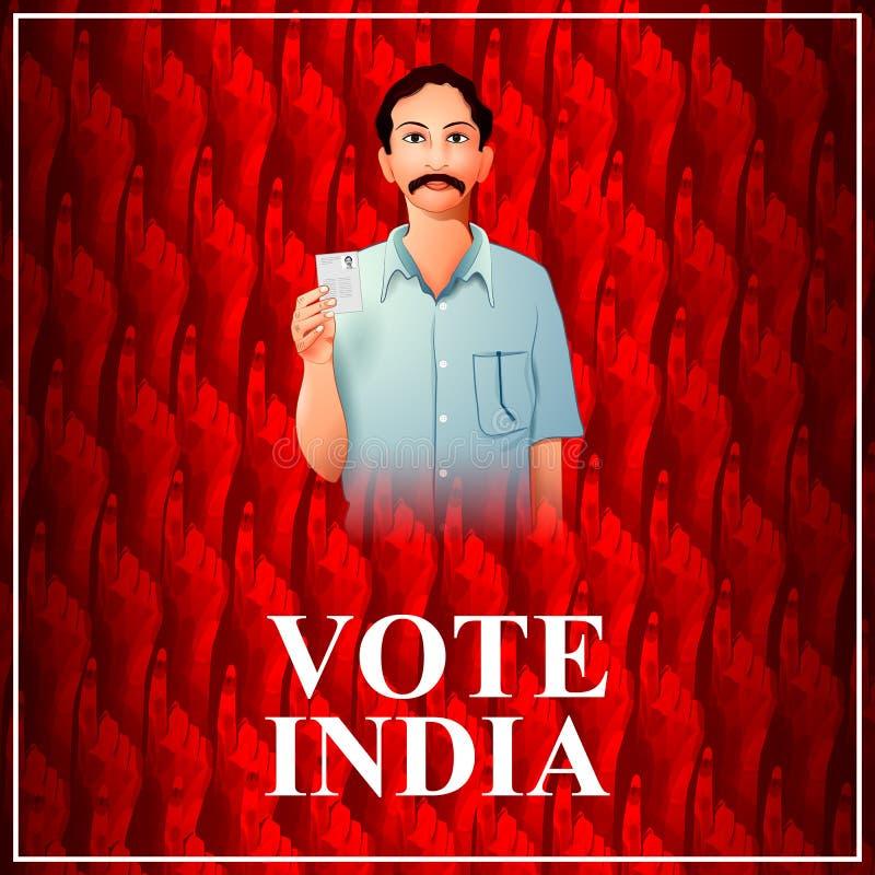 Mano de la demostración de la bandera del cartel de la gente india para la campaña de la interrogación de la elección y del voto  ilustración del vector
