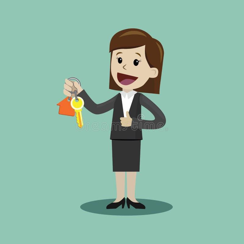 Mano de la empresaria que compra una casa Los agentes inmobiliarios dan el donante de llaves al cliente Concepto 6 de las propied ilustración del vector